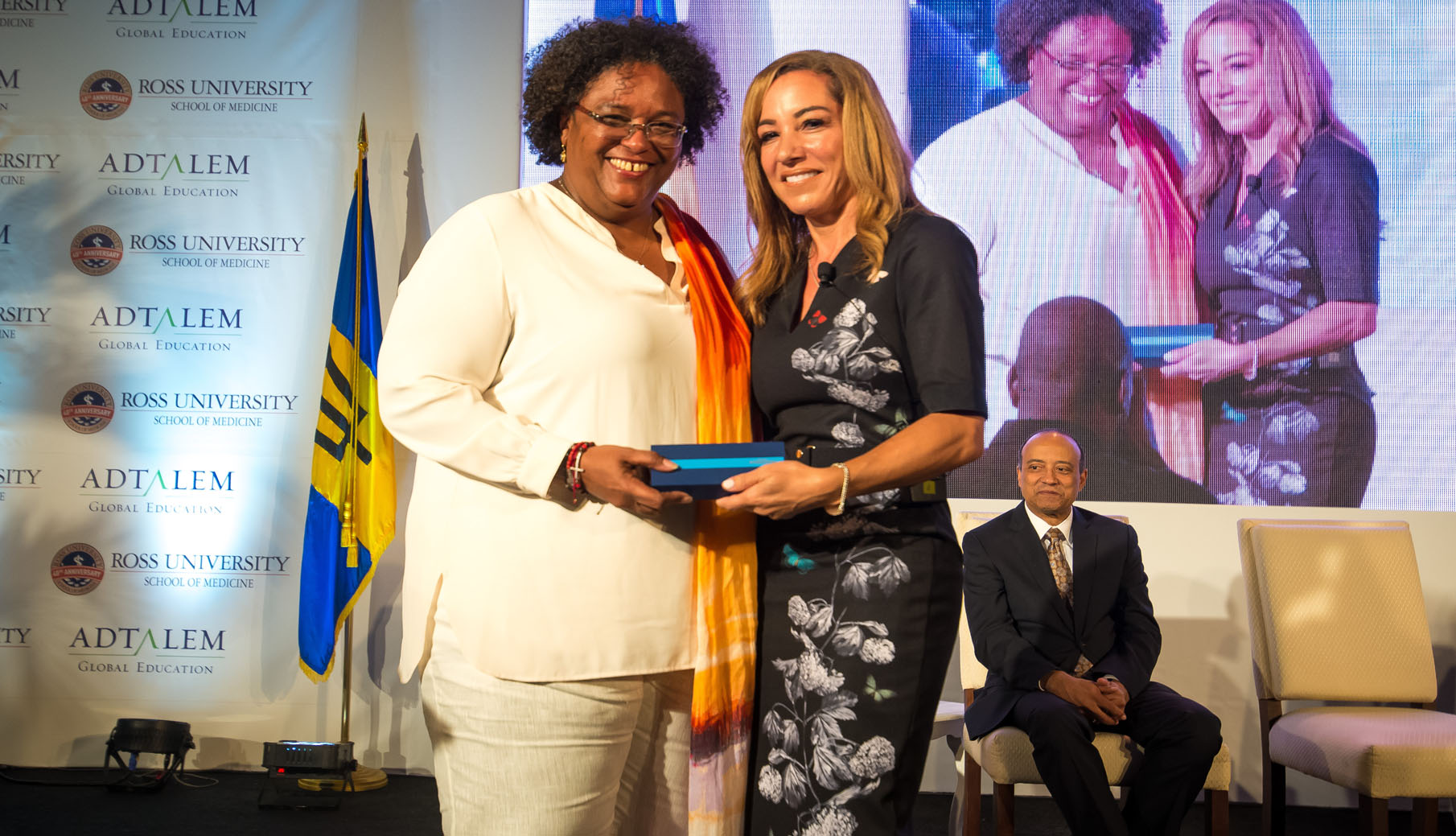 Lisa Wardell and PM Mia Mottley after ribbon cutting