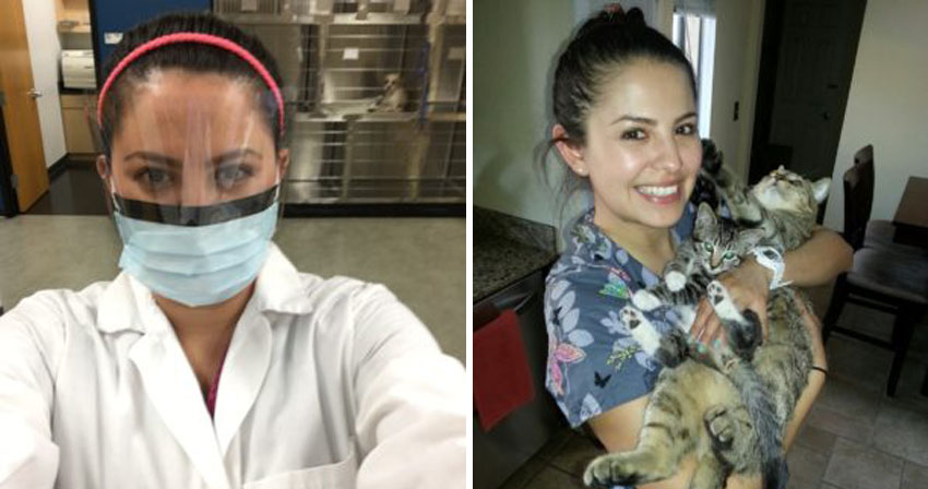 Kathy wearing her surgical mask for demonstrations and Kathy at home with her cats.