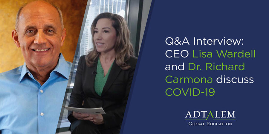 "Video still image with graphic text ""Q&A Interview: CEO Lisa Wardell and Dr. Richard Carmona discuss COVID-19"""