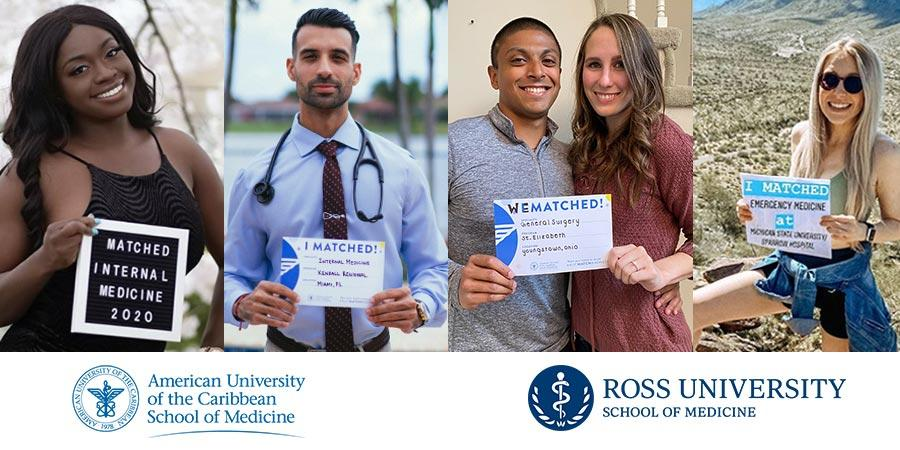 Medical students from AUC Med and Ross holding their Match Day signs