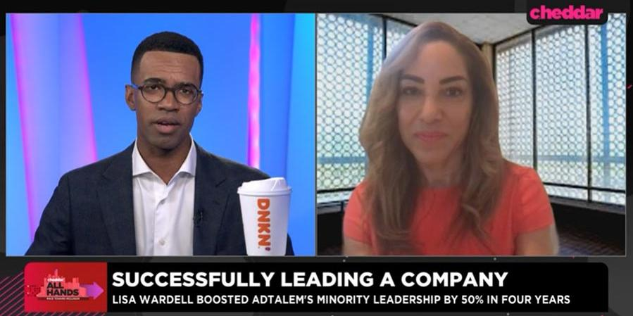 Screenshot of video interview of Lisa Wardell on Cheddar