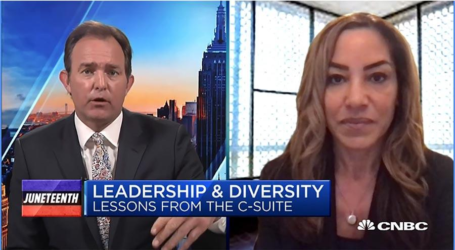 Screenshot of video interview of Lisa Wardell on CNBC