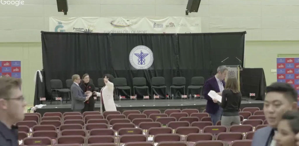 empty ceremony hall and stage