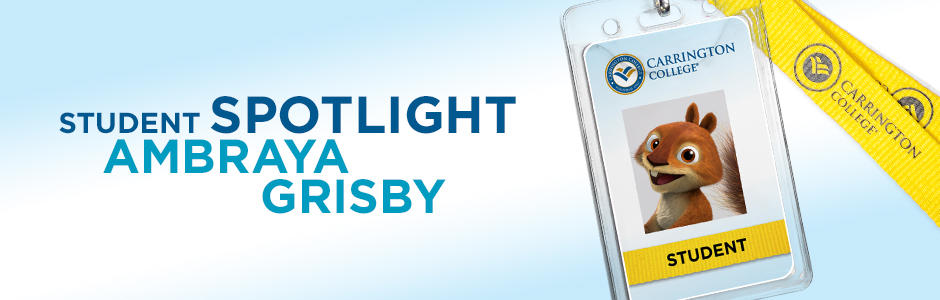 "graphic text ""student spotlight Ambraya Grisby"" and a name tag lanyard"